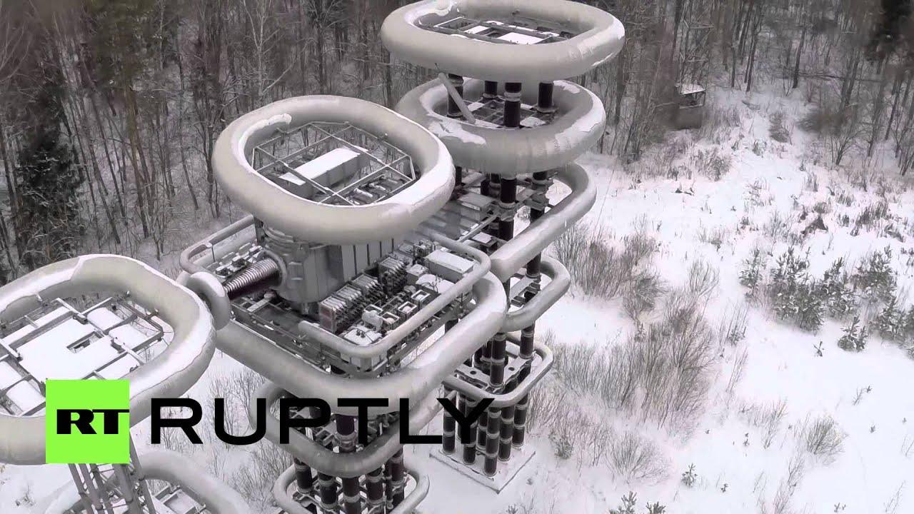 Drone Footage Tesla Tower In Russian Winter Youtube