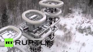 Drone Footage: Tesla Tower in Russian winter
