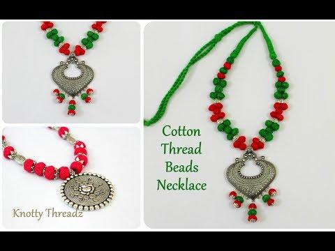 Antique Jewelry   Stylish Cotton Thread Beads Necklace   Oxidized Jewelry   DIY   knottythreadz.com