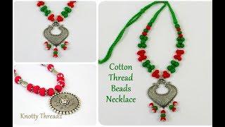 Antique Jewelry | Stylish Cotton Thread Beads Necklace | Oxidized Jewelry | DIY | knottythreadz.com