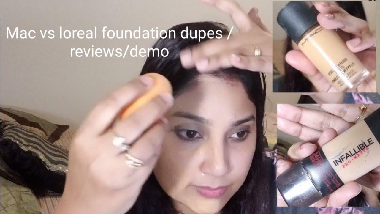 Mac vs loreal foundation dupes/reviews/demo - YouTube