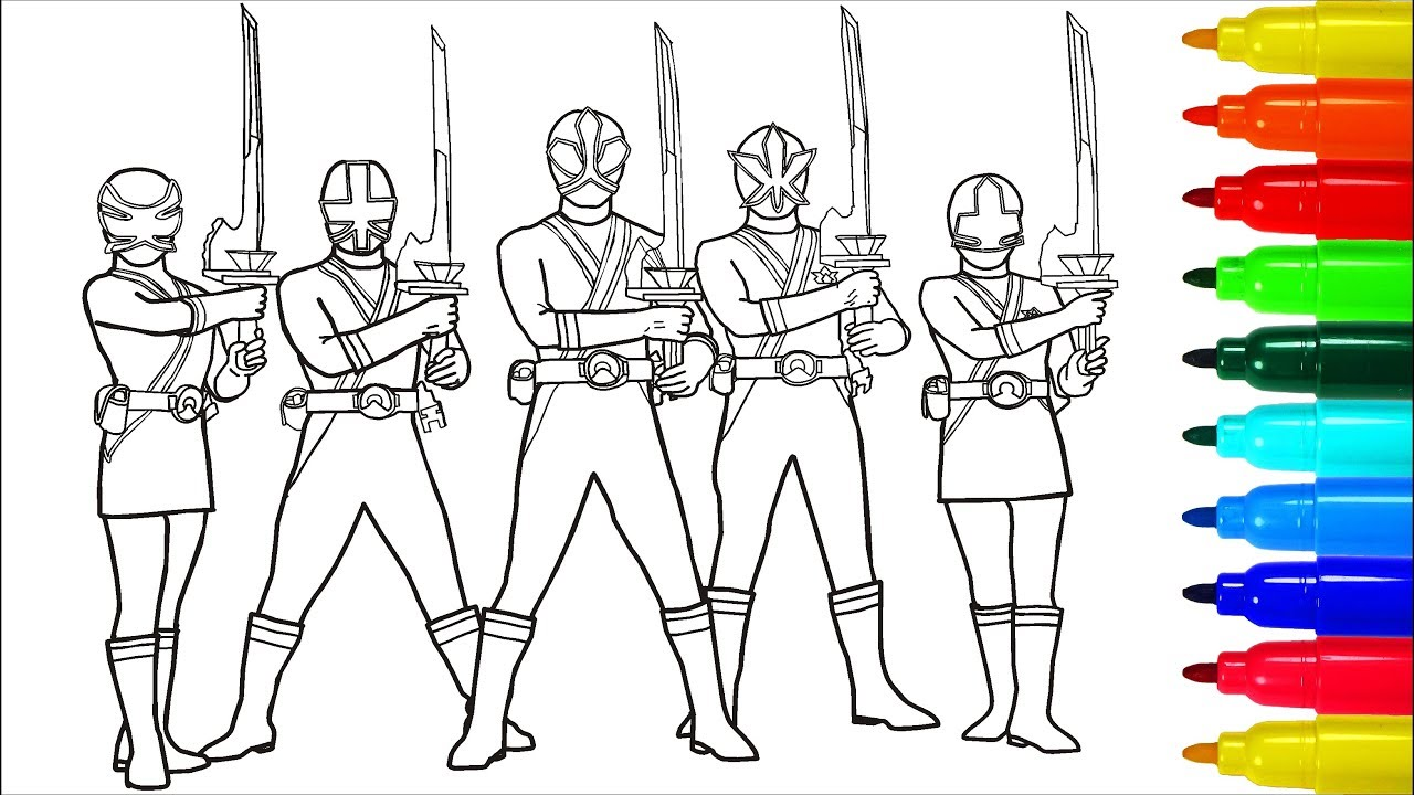 Power Rangers Samurai With Swords Coloring Pages