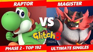 Glitch 8 SSBU - Raptor (Yoshi) Vs. Magister (Incineroar) Smash Ultimate Tournament Top 193