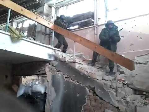 Редкие Кадры! Донецкий Аэропорт   перестрелка Ополчения с ВСУ
