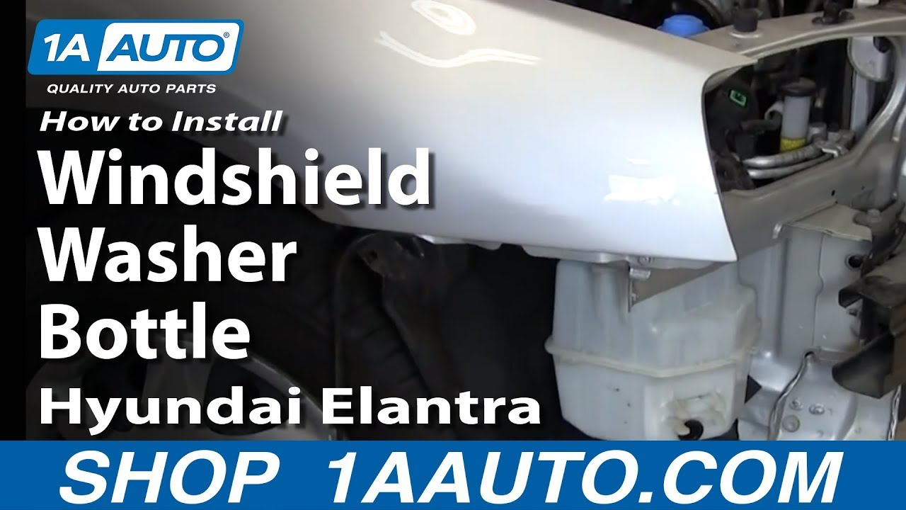 how to install replace windshield washer bottle hyundai