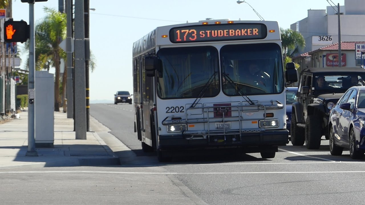 ca long beach transit: 2002 new flyer d40lf route 173 bus #2202 at
