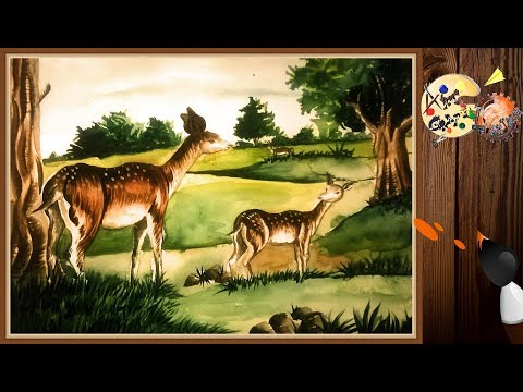 Deer painting paint with artist colour. By ART CRAFT INVENTION.....