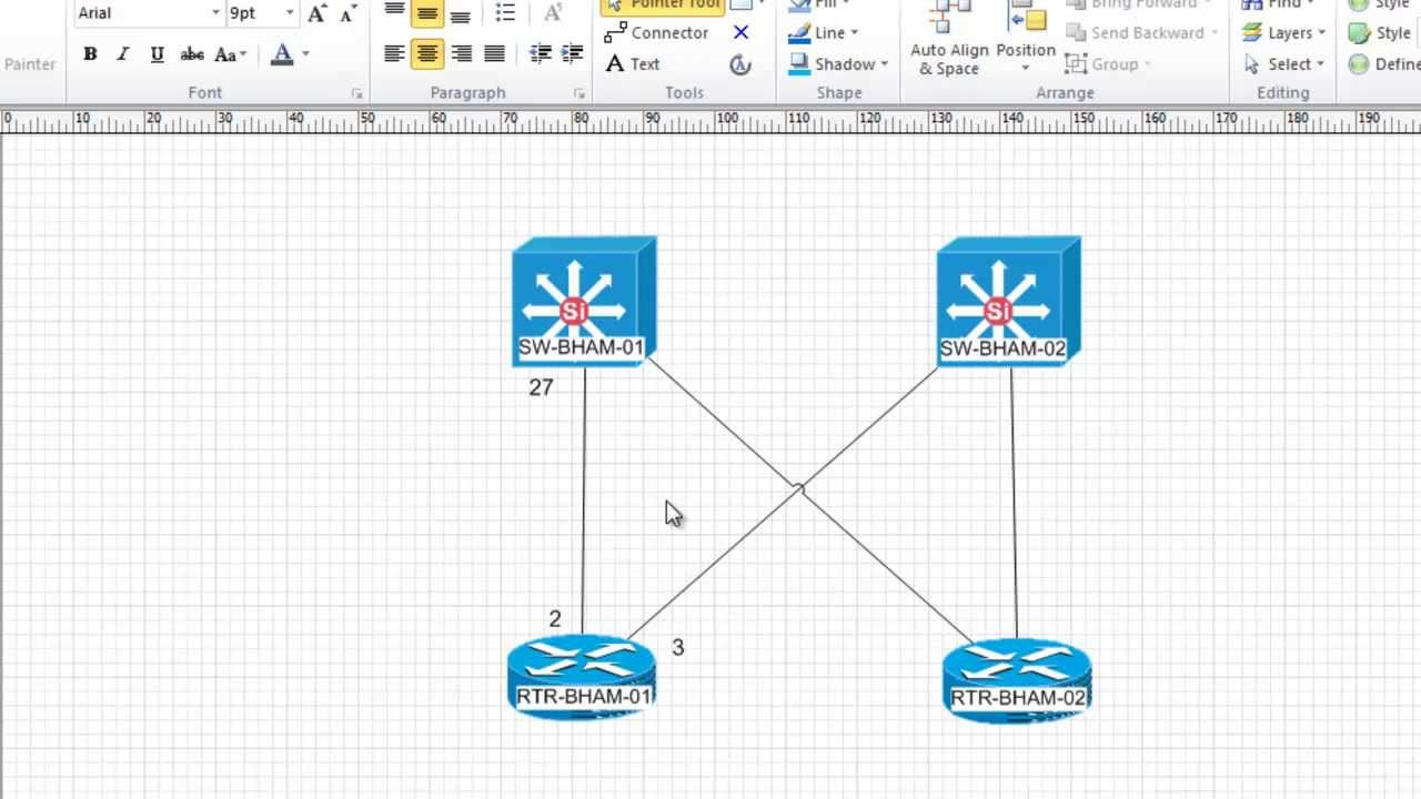 hight resolution of visio network diagrams with intelligent network connector