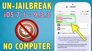 How To Unjailbreak/Remove Cydia (iOS 9.3.3) w/ Cydia Eraser | Restore Without Updating (No Computer)