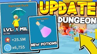 BATHTUB DUNGEON, POTIONS AND LEVEL 1 MILLION HATS IN UNBOXING SIMULATOR UPDATE! Roblox