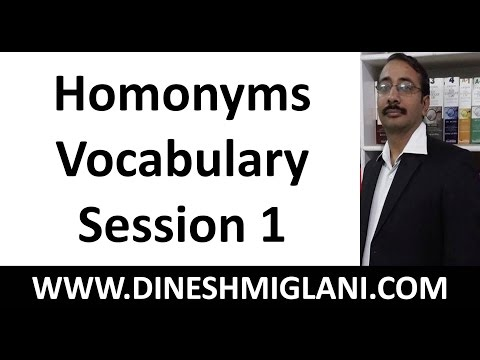 HOMONYMS ENGLISH VOCABULARY BUILDING SESSION FOR CAT, SSC CGL CHSL, IBPS PO CLERICAL