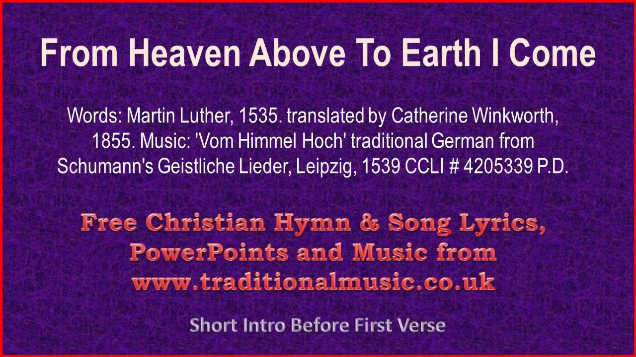 from heaven above to earth i come full verses christmas carols lyrics music youtube. Black Bedroom Furniture Sets. Home Design Ideas