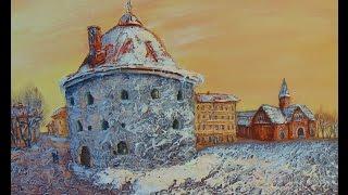 Рисуем старый город  акрилом и маслом с помощью структурной пасты КРУГЛАЯ БАШНЯ.