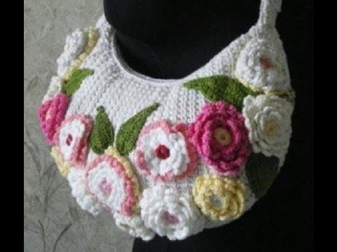Bolsos tejidos a crochet con flores youtube - Bolsos tejidos a crochet ...