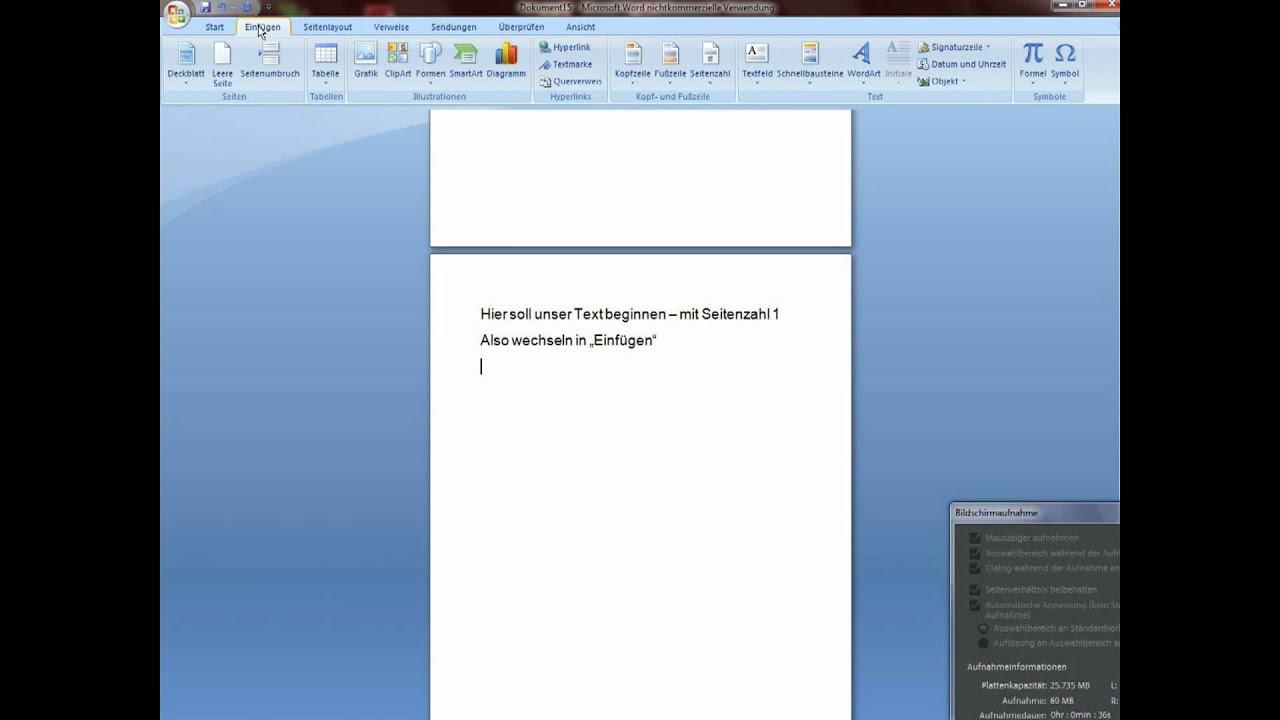 Word 2007 Seitenzahlen Einfügen