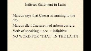 The Indirect Statement in Latin