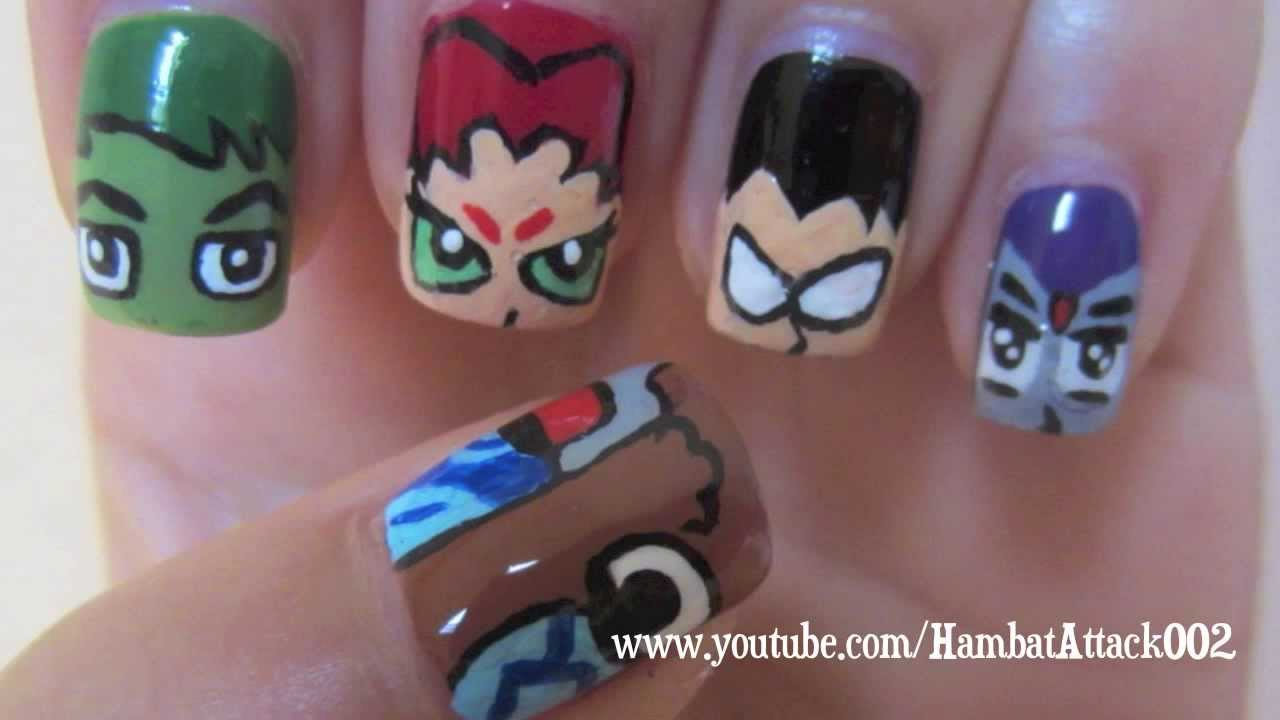 Teen Titans Inspired Nail Art - Teen Titans Inspired Nail Art - YouTube