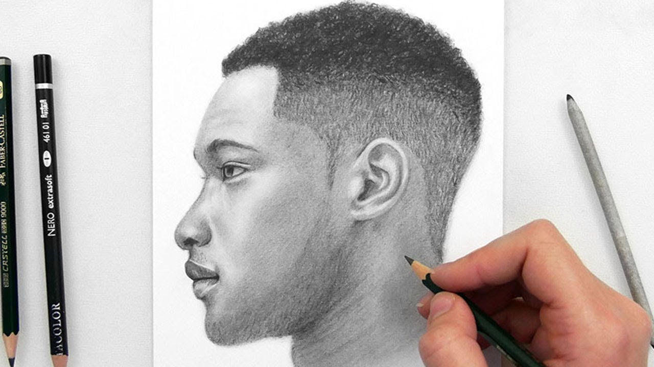 Drawing A Man Side View With Graphite Pencils Youtube