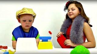 Игры для детей. СУПЕРМАРКЕТ. Настя, Вова и Детская касса. Смешные Видео для детей(Лучшие Игры для детей на канале