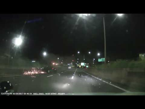 Alleged Drunk Driver Crash on H-1 Freeway Hits Barrier Honolulu DASHCAM HAWAII