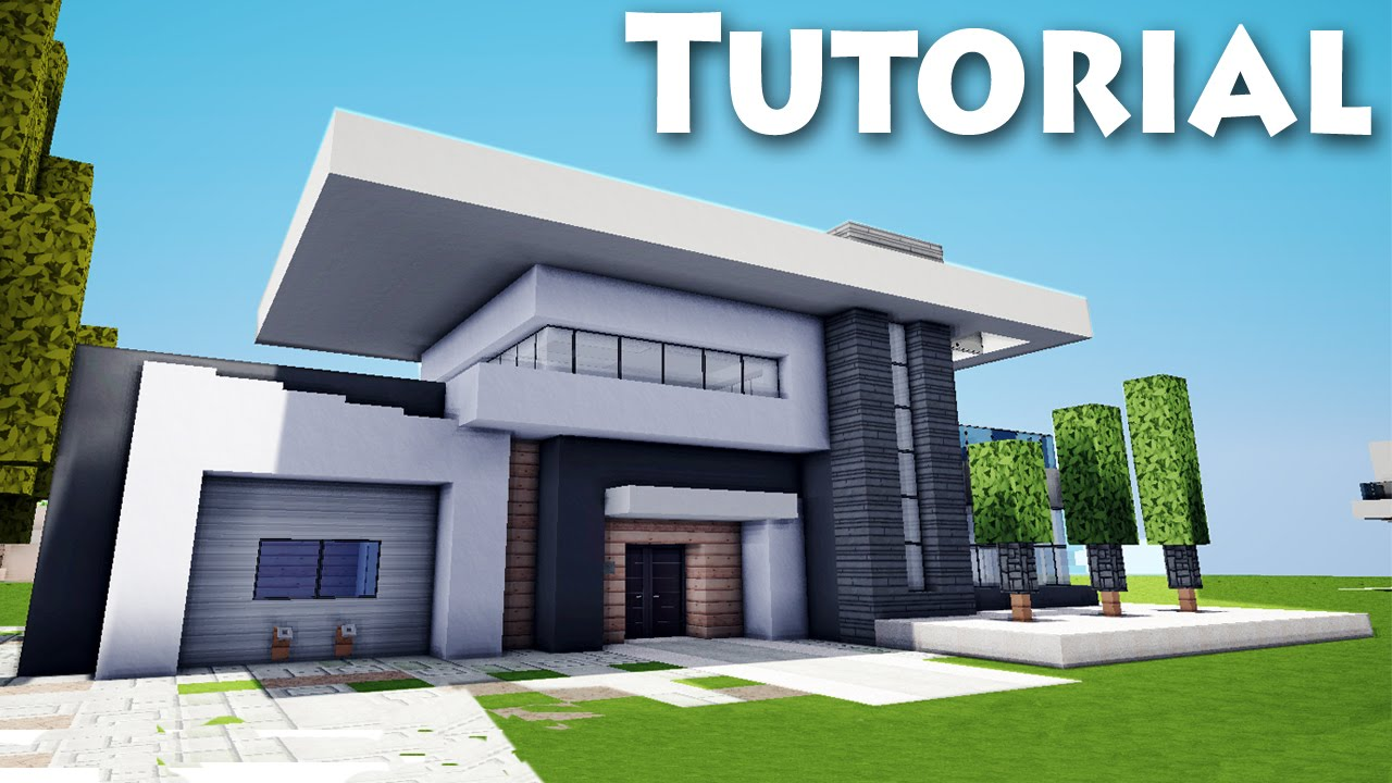 How to build a modern house in minecraft pe tutorial for Big modern house tutorial