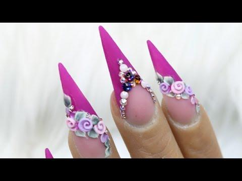 Unas Acrilicas 3d Flores Youtube