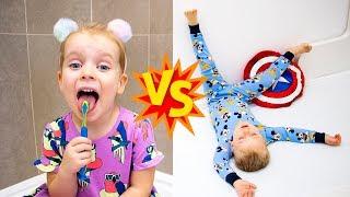 Gaby vs Alex School Morning Routine Pretend Play
