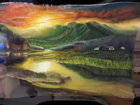 Sunset Landscape Time Lapse Painting