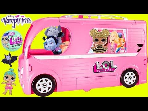 Dont Wake Vampirina Barbie Camper LOL Surprise Dolls Airplane Routine Sister Pool Slumber Party!