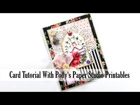 Vintage Birthday Tag Card Tutorial Polly's Paper Studio Printable Process DIY card making twine