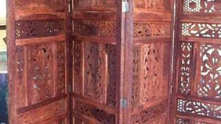 Exotic Room Divider Teak Wood Screen $178