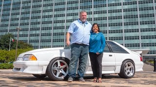 Henry Ford III Delivers Wes Ryan's Restored 1993 Ford Mustang to the Ryan Family at Ford WHQ