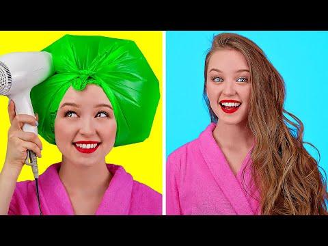 ПОТРЯСАЮЩИЕ ХИТРОСТИ ДЛЯ ДЕВУШЕК || Классные идеи для причесок и макияжа от 123 GO!