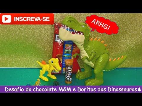 Desafio do chocolate M&M's e Doritos com os dinossauros Dino e Rex! |