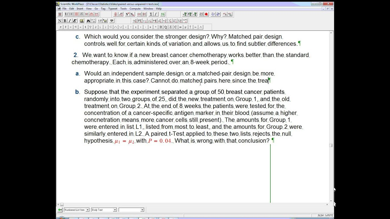 Paired Versus Unpaired Experimental Design And T Tests