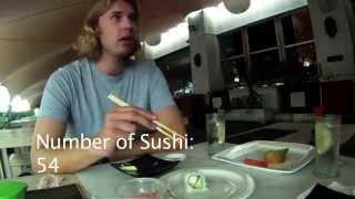 English boy eats 57 sushi in a minute then sick