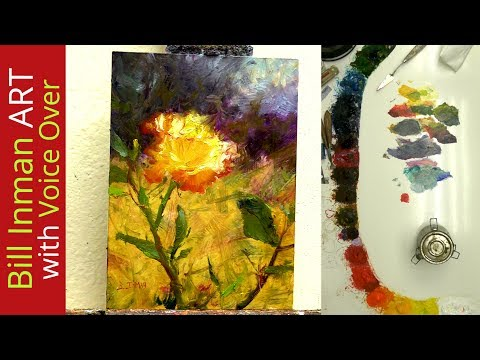 Paint a Yellow Rose with Master Artist Bill Inman  - Fast Motion w/Voice Over Instruction