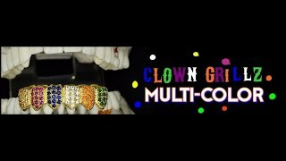 Clown CZ Grillz 18k Gold Plated Multi-Color Bottom Teeth Hip Hop Grills