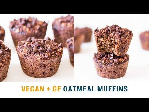 Vegan Chocolate Oatmeal Muffins | Gluten-Free