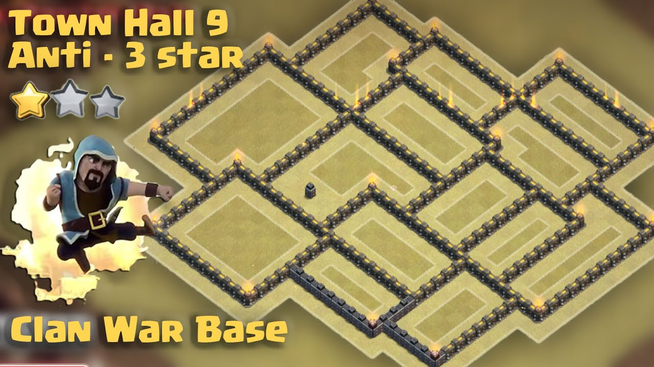 Town hall 9 war base anti 3 star th9 war anti goho golaloon