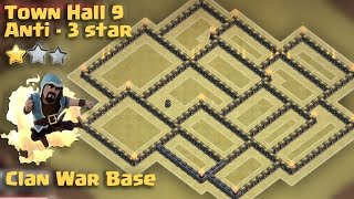 Town Hall 9 War Base Anti 3 star (TH9 war anti Goho/Golaloon) + Replays