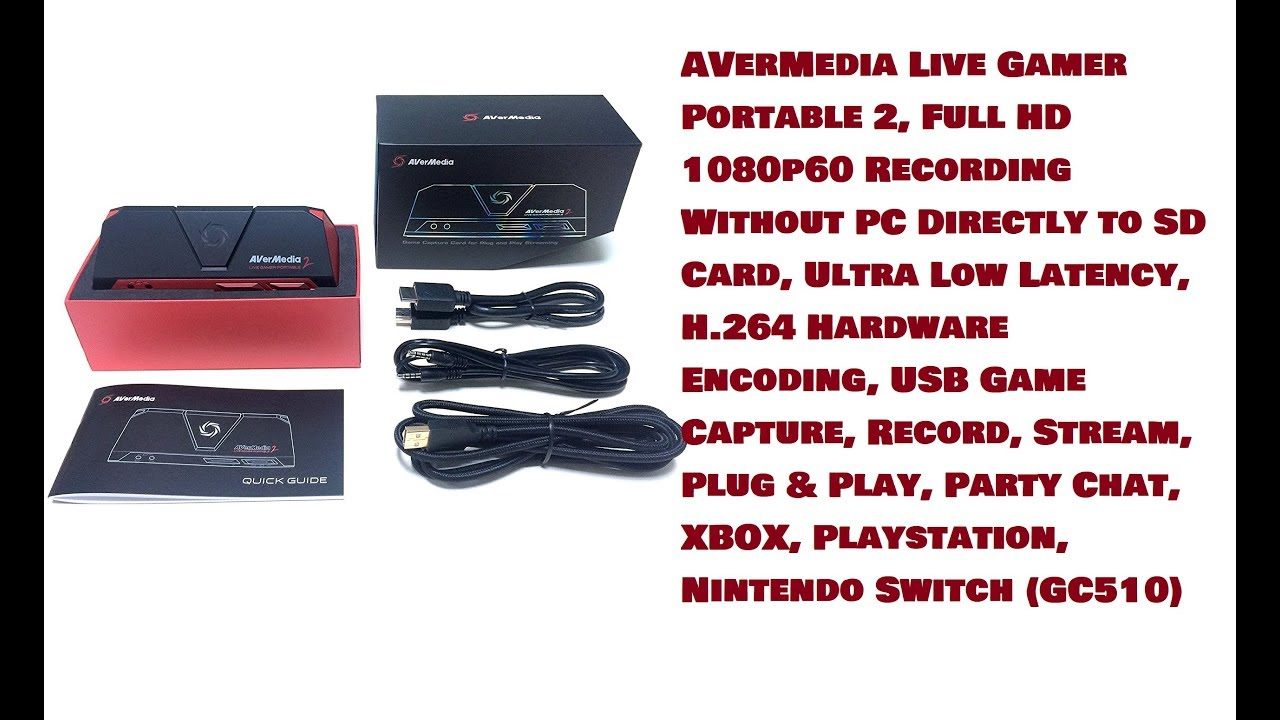 AVerMedia Live Gamer Portable 2, Full HD 1080p60 Recording Without PC  Directly to SD Card, Ultra Low Latency, H 264 Hardware Encoding, USB Game