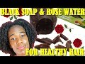 DIY African  Black Soap & Rose Water Shampoo|Healthy Hair Challenge ✔️Jah-nette