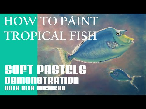 How To Paint Tropical Fish - Unicorn Fish In Coral Reef - Soft Pastel Tutorial For Beginners