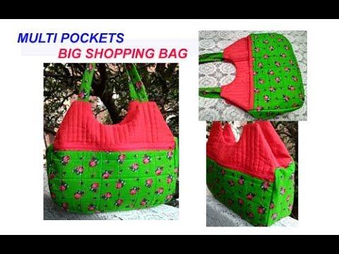 Multi pockets - BIG SHOPPING BAG WITH ZIPPER - CUTTING AND STITCHING HANDMADE HANDBAG IN HINDI