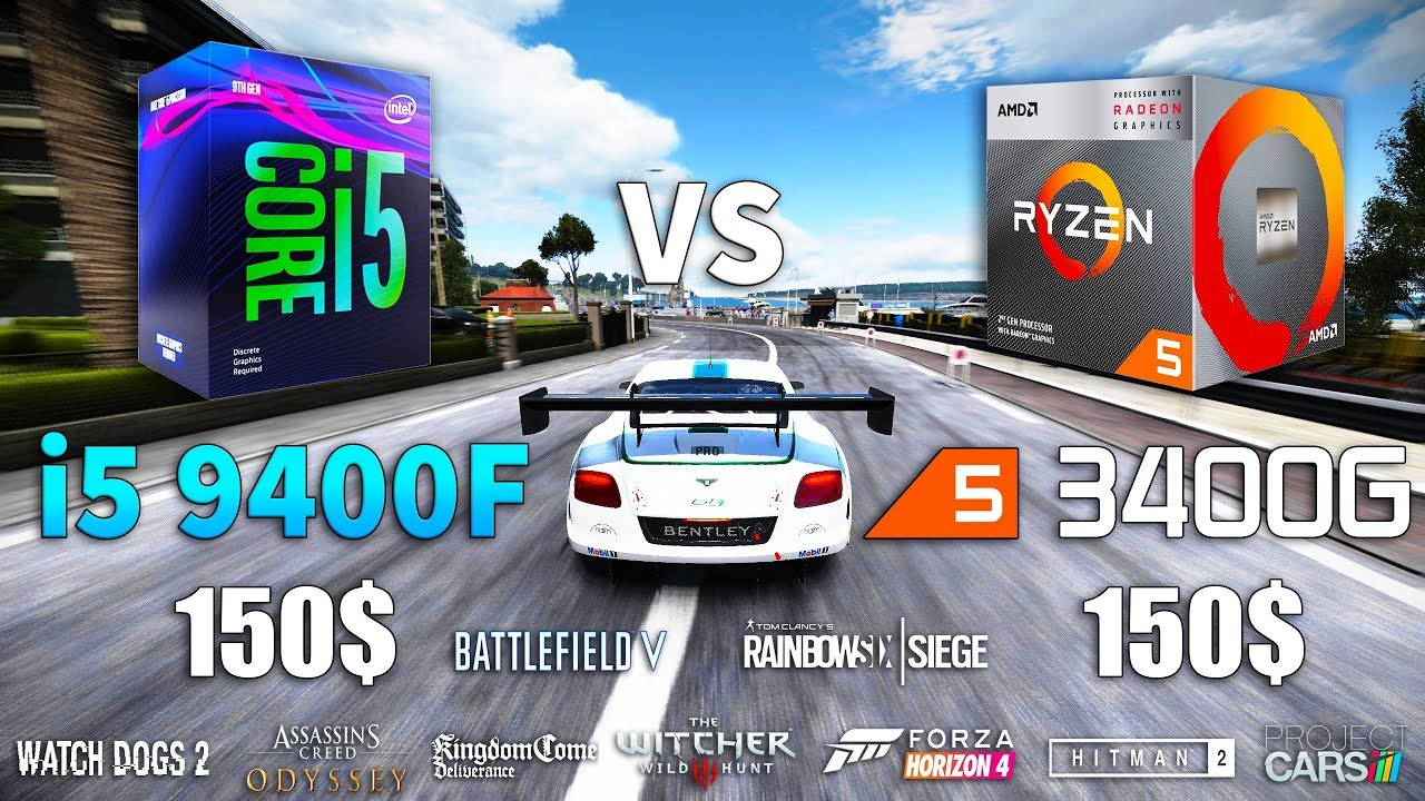 Ryzen 5 3400G vs Core i5 9400F Test in 9 Games