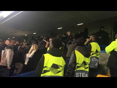 PAOK fans at Stamford Bridge. Chelsea vs PAOK. Europa league. 29/11/2018