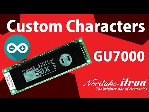 Noritake VFD: GU128X32D-7003 Custom Character Demo using Arduino