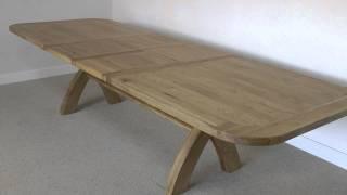 Large Cross Leg Extending Oak Table