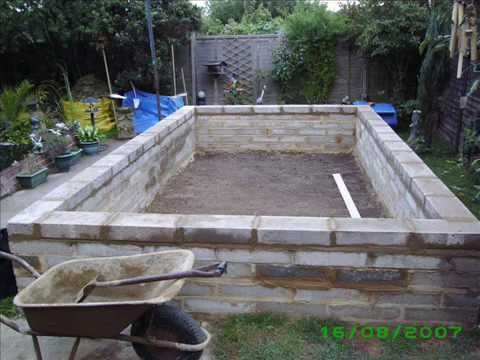 Building a pond 2007 youtube for Concrete fish pond construction and design